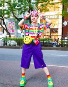 Rainbow Harajuku Fashion w/ Colorful Shaved Hair, Happy Birthday Sunglasses, Statement Suspenders, Peko-chan Neck Wallet, Dickies, Sevens Smiley Face Bag & Yosuke Cutout Shoes