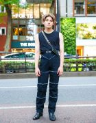 All Black Menswear Fashion w/ Double Hoop Earrings, APC, KARA Bike Wallet, Ambush Pants & Christian Louboutin Heeled Boots