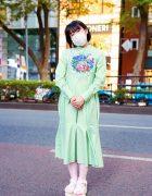 Harajuku Style w/ Fringed Bob, Face Mask, Roma Uvarov Design Checkered Dress & Yosuke Strappy Sandals