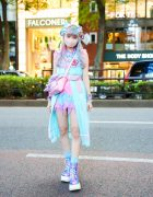 Tokyo Unicorn Pastel Fashion w/ Multicolored Hair, Kanji Earrings, 6%DokiDoki Setup, Tiered Handkerchief Skirt, Glem Handmade Accessories, Satchel Sling Bag & Demonia Metallic Boots