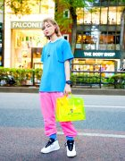 Harajuku Adidas Street Style w/ Flagstuff Anime Shirt, Gosha Rubchinskiy Track Pants, Junya Watanabe x Comme des Garcons Satchel Bag & Alexander Wang Turnout Ball Sneakers