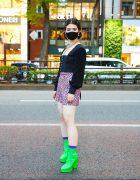 Student in Dolls Kill Fashion w/ Tiger Mist Blouse, Dolls Kill Leopard Print Mini Skirt, Dolls Kill Neon Green Platform Heels & Spinns Accessories