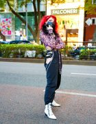 Harajuku Street Style w/ Purple Contacts, Butterfly Makeup, Listen Flavor Mask, Motel Zebra Print Top, High Waist Sexy Cutout Pants, Dolls Kill, Spinns & Strange Cult Pointy Boots