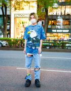 Harajuku Guy's Tie Dye Street Style w/ Layered Necklaces, Chicago Eagle Artwork T-Shirt, Open The Door Convertible Jeans & Yosuke Creepers
