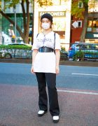 Tokyo Student w/ Corset over M.Y.O.B White Shirt, Une Maision Pants, Forever21 Shoes, Kobinai Backpack, GU & Resale Accessories