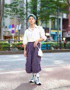 Tokyo Menswear Street Style w/ Aqua Hair, Pearl Necklaces, Sulvam, Kota Gushiken, Landlord NY Tweed Pants, Elena Dawson Pouch & Flower Mountain Sneakers