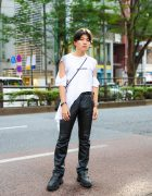 Harajuku  Street Style w/ Art School Cut-Out Shirt, Vintage Leather Pants, Vintage Drawstring Bag, Loafer Shoes & Assorted Accessories