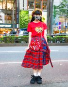 Harajuku HEIHEI Girl in Yellow Plaid Beret, Houndstooth Mask, Character T-Shirt, Plaid Skirt, Heart Bag & Tokyo Bopper Bow Shoes