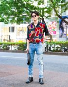 Casual Menswear in Tokyo w/ Round Sunglasses, Abstract Shirt, JieDa Denim Pants, Ground Y Clutch & John Lawrence Sullivan