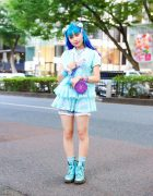 Tokyo Kawaii Street Fashion w/ Purple & Blue Hair, Pom Pom Hair Ties, Algonquins Blouse, 6%DokiDoki, Spiny Cream, MenMeiz Bead Bag & Dr. Martens Glitter Boots