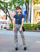 Harajuku Streetwear Style w/ Layered Necklaces, UNIF Cropped Shirt, Echo Club House Fringe Jeans, Suede Bag & Mom I Love Fashion Platform Boots