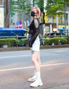 Pink-Haired Model in Tokyo w/ Tattoos, By Munil Loose Knit Top, Ripped Denim Shorts, Maison Margiela Accessories, Chain Strap Bag & Open The Door Boots