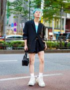 Student in Another Youth Backless Blazer, Resale Shirt, Resale Shorts, Eytys Chunky Sneakers, Y/Project Handbag and Resale Accessories