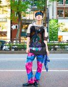 Fishnet and Tie Dye Street Style w/ Head Bandana, Blackmeans Fishnet Shirt, Levi's Tie Dye Jeans, Dr. Martens Shoes, Raf Simons Sling Bag, M.Y.O.B Arrow Earrings & Joegush Accessories