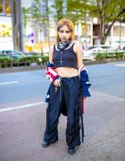 Harajuku Street Style w/ Two-Tone Hair, Septum Ring, American Flag Cardigan, Crop Top, Illig Strap Pants Dr. Martens Boots
