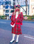 Plaid HEIHEI Japan Street Style w/ Red Eye Makeup, Heart-Shaped Beret, Plaid Mask, Bomber Jacket x Pleated Skirt Set, Furry Sling & Baby Doll Shoes
