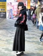 Tailor Toyo Tiger Sukajan, Black Bob & Comme Des Garcons Skirt in Harajuku