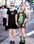Harajuku Girls w/ Tattoos, Piercings & Platform Sandals