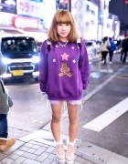 Teddy Bear Top, Jouetie Platform Sneakers & Bubbles Harajuku Backpack