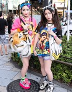 Sisters in Harajuku w/ Twintails, Tie-dye, Tiger Head & Donald Duck