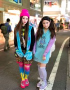 Harajuku Sisters w/ Tiger Backpacks, Toxic Cupcakes & Neon Creepers
