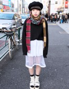 Plaid Ruff Collar, Sheer Skirt & Tokyo Bopper Ribbon Platforms