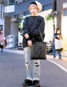 Harajuku Girl in Torn Denim, Tokyo Bopper, Otoe Hat & Champion Sweatshirt