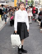 Tokyo Bopper Bows Backpack, Cleana Skirt & Platform Shoes in Harajuku