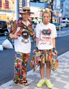 Harajuku Duo w/ Graphic T-Shirts, Piercings, Buttstain Accessories & Geta