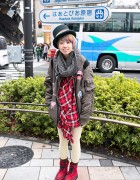 Harajuku Girl in Top Hat, Cat Backpack, Bomber Jacket & Creepers
