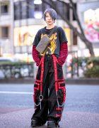 Harajuku Girl w/ Pastel Hair, Striped Shirt, Tripp Pants, LV Crossbody Bag & Demonia Platforms