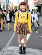 Red Bangs & Twin Tails w/ Tweety Sweatshirt & Spinns Skirt in Harajuku