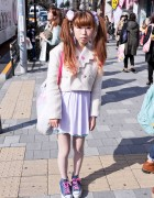 Cute Twintail Hairstyle & Hello Kitty-laced Platform Converse in Harajuku