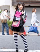 Harajuku Girl in Twintails, Sailor Top, Pleated Skirt, Striped Socks & Randoseru
