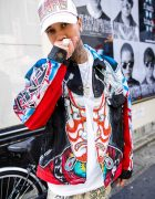 Tyga on the Street in Harajuku w/ VietRaw, BAPE & Dog Harajuku Kabuki Jacket