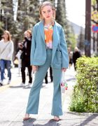 X-Girl Japan Suit Street Style at Vantan Fashion School Entrance Ceremony in Tokyo