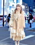 Vintage Loving Harajuku Girl w/ Priere Coat, Kinji Dress & Freaks Circus