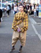 Harajuku Girl in Vintage Top, Handmade Skirt-Pants, Plaid Beret & Heels