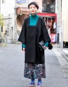 Harajuku Girl in Vintage Kimono Jacket, Geta Sandals & Short Hairstyle