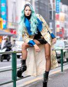 Aqua-Haired Harajuku Student in Vintage Japanese Coat, Takenoko Shorts & Super Tall Heel Less Heels