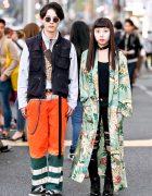 Harajuku Girl in Long Floral Kimono Coat & Harajuku Guy in Neon & Vans