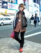 Nari Saito in Harajuku w/ Resale Sukajan Jacket, Clutch & Red Shoes