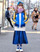 Vintage Sukajan, Pleated Skirt & Tokyo Bopper Shoes in Harajuku