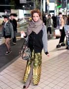 Vintage Gold Skirt, Floral Tapestry Bag & Vivienne Westwood in Harajuku