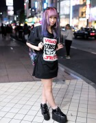 Vision Street Wear x Jouetie Top, Pink-Purple Hair & Dinosaur Backpack in Harajuku