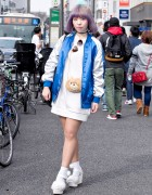 Pastel Bob Hairstyle, Sukajan, Sweatshirt Dress & Bear Pouch in Harajuku