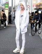 Blonde Harajuku Guy in White Hooded Jacket & Platform Shoes