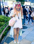 Pink Twintail Hairstyle, Flower Headband & Pastel Bag in Harajuku