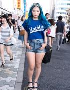 Yeji Jo in Harajuku w/ Blue Hair, Flower Crown, Piercings & Wedges