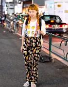 Twin Braids Hairstyle, The Simpsons & Suspenders in Harajuku